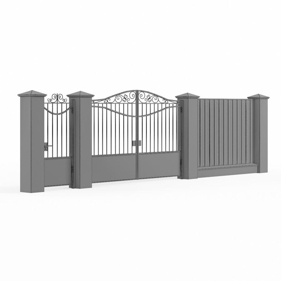 Portão de ferro forjado e cerca 03 royalty-free 3d model - Preview no. 8