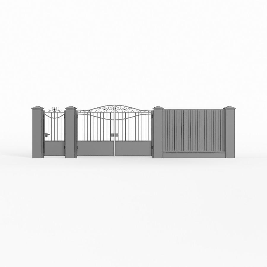 Portão de ferro forjado e cerca 03 royalty-free 3d model - Preview no. 10