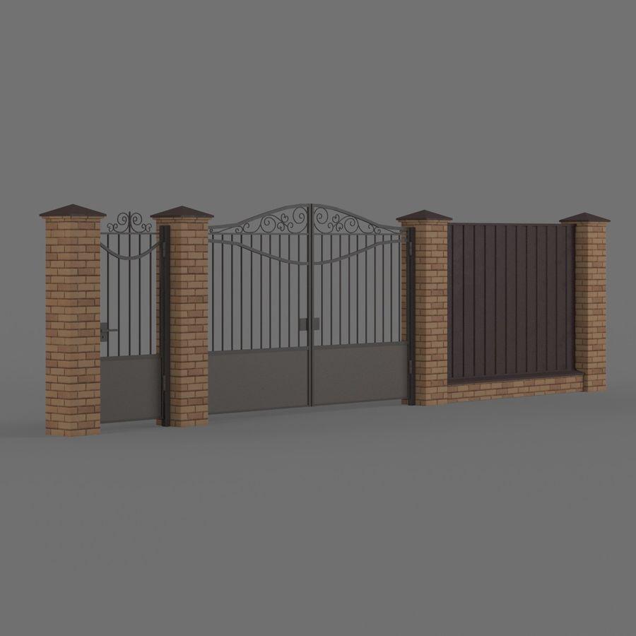 Portão de ferro forjado e cerca 03 royalty-free 3d model - Preview no. 2
