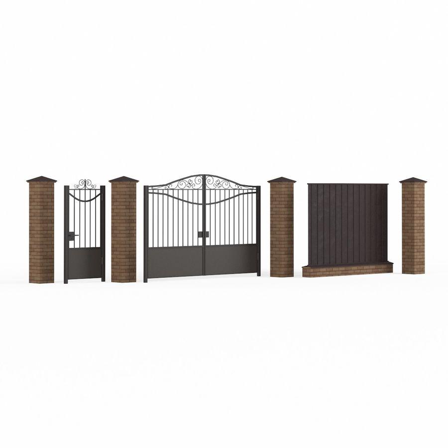 Portão de ferro forjado e cerca 03 royalty-free 3d model - Preview no. 7