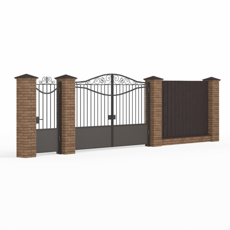 Portão de ferro forjado e cerca 03 royalty-free 3d model - Preview no. 1