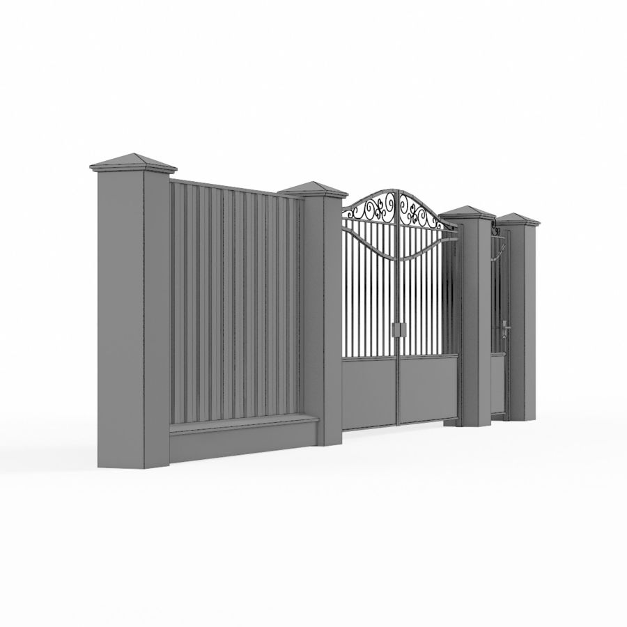 Portão de ferro forjado e cerca 03 royalty-free 3d model - Preview no. 12