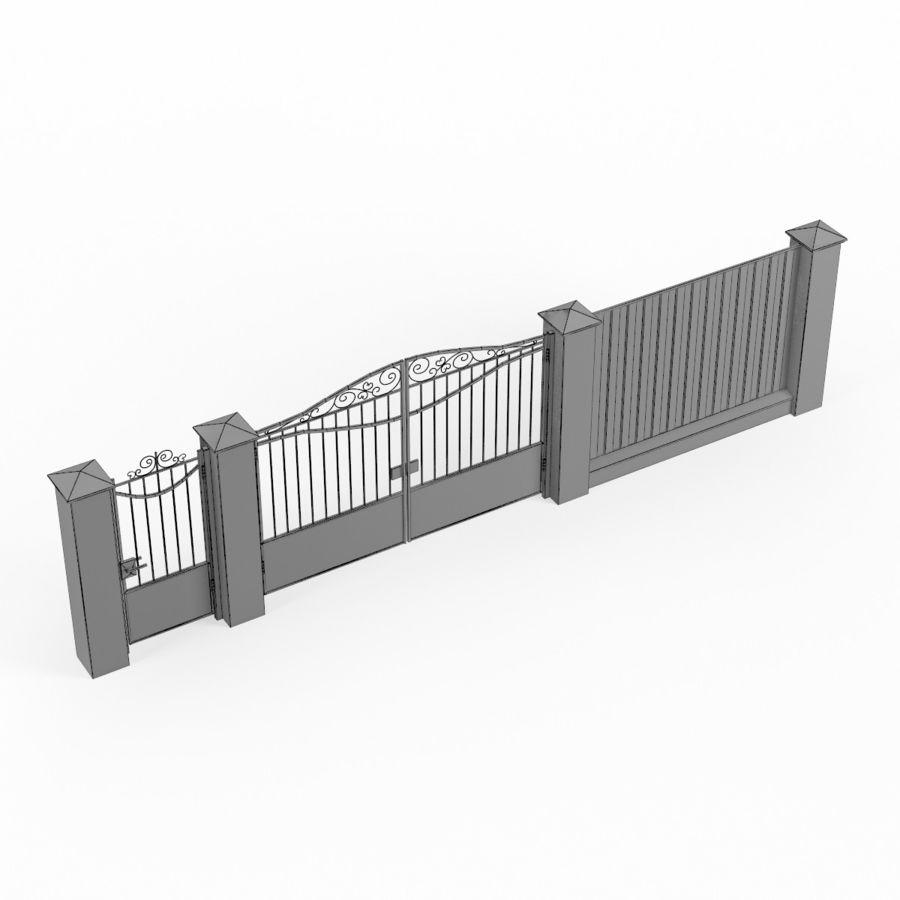 Portão de ferro forjado e cerca 03 royalty-free 3d model - Preview no. 9