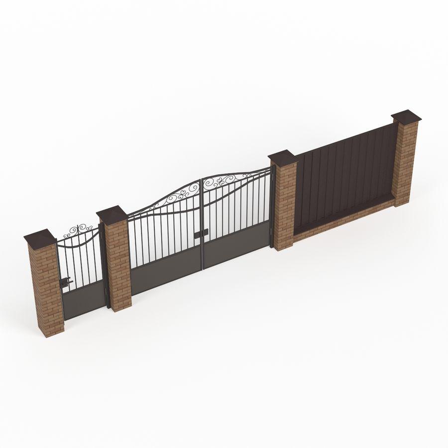 Portão de ferro forjado e cerca 03 royalty-free 3d model - Preview no. 3
