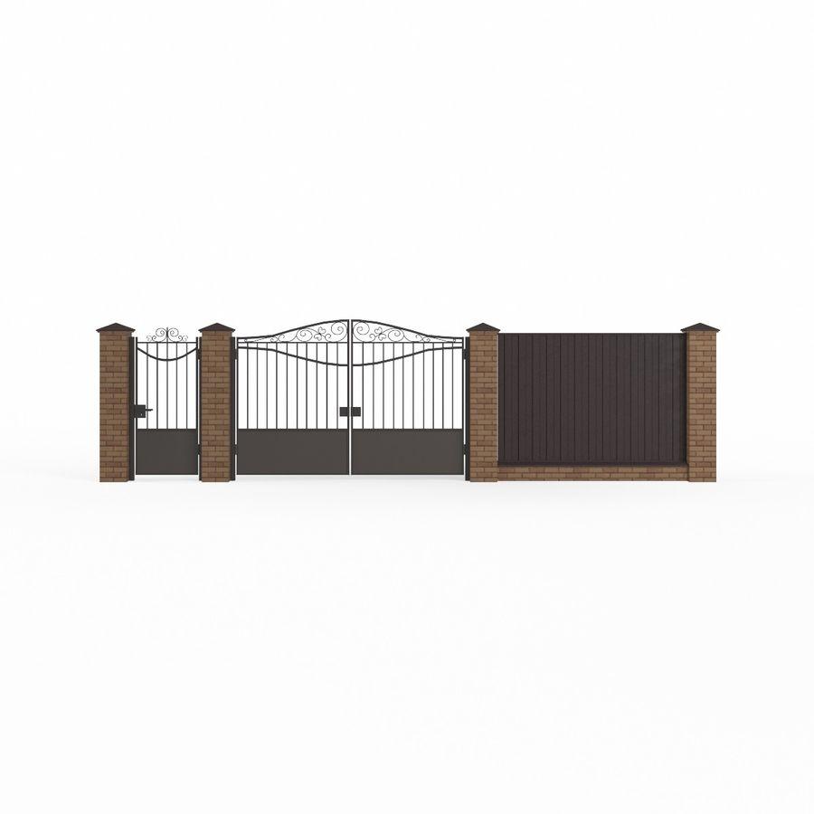 Portão de ferro forjado e cerca 03 royalty-free 3d model - Preview no. 4