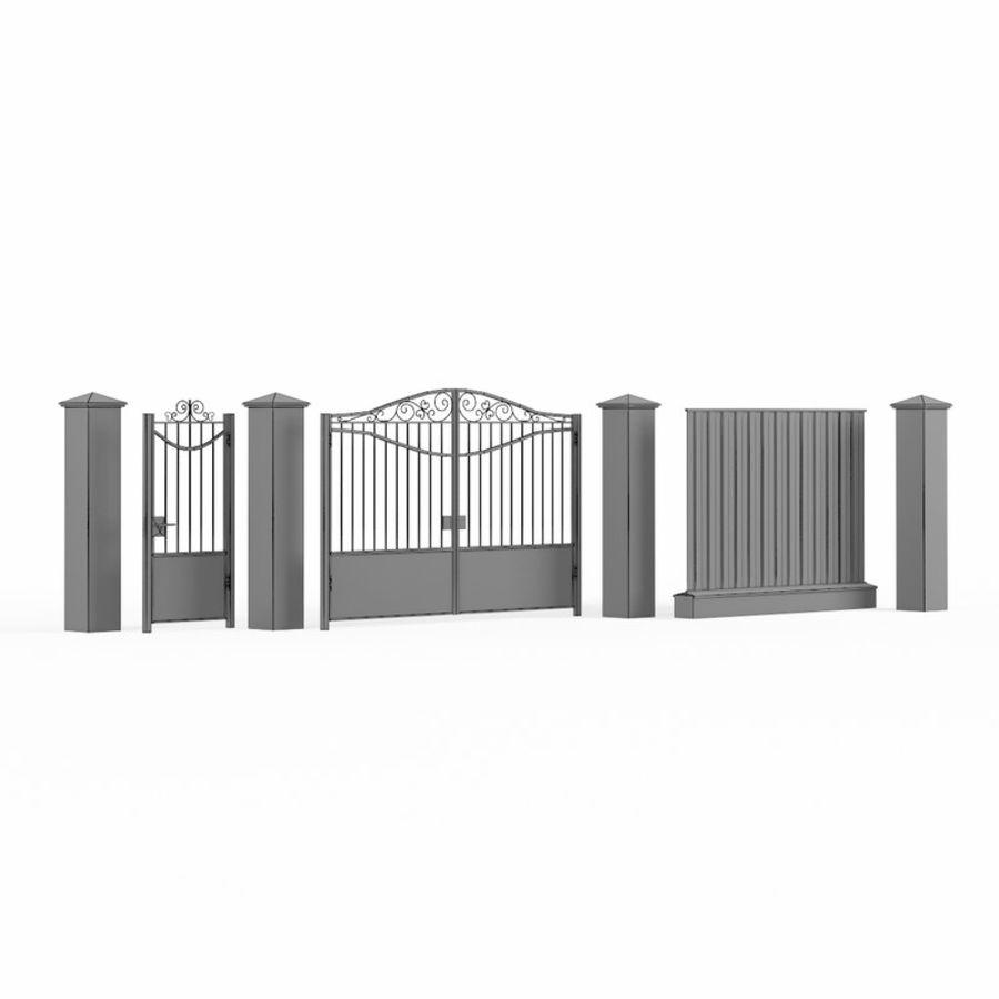 Portão de ferro forjado e cerca 03 royalty-free 3d model - Preview no. 13