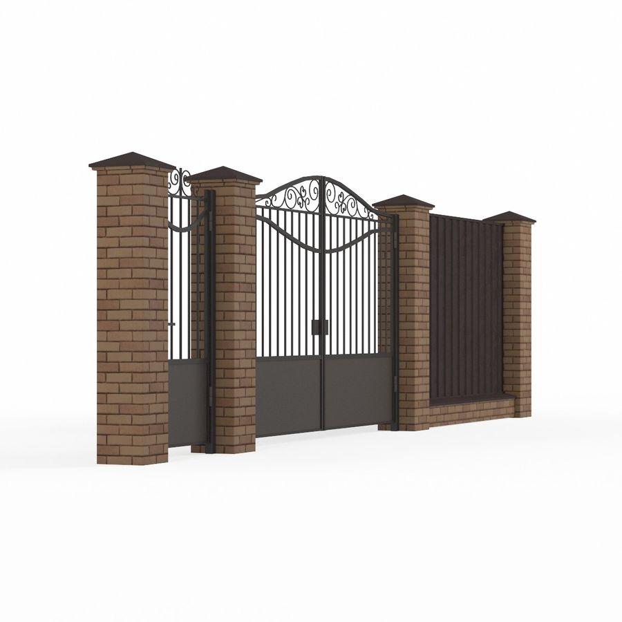 Portão de ferro forjado e cerca 03 royalty-free 3d model - Preview no. 5