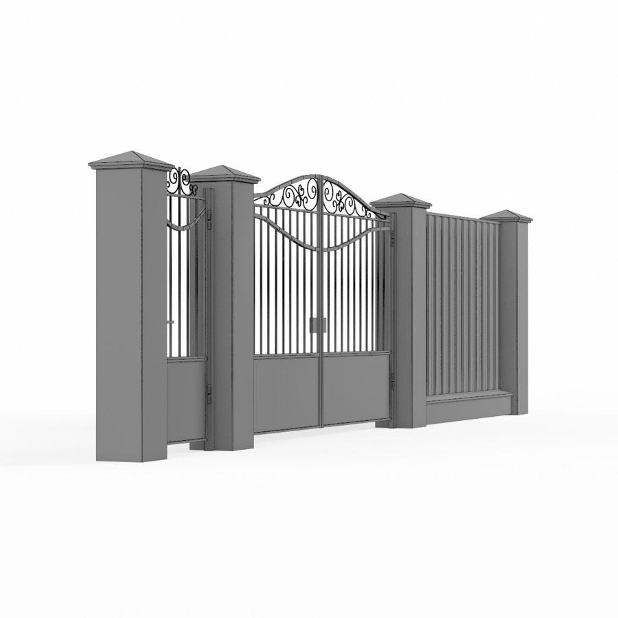 Portão de ferro forjado e cerca 03 royalty-free 3d model - Preview no. 11