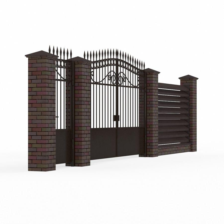 Portão de ferro forjado e cerca 04 royalty-free 3d model - Preview no. 4