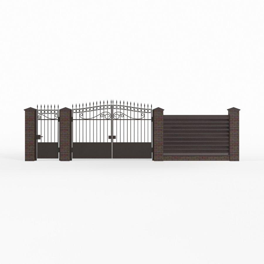 Portão de ferro forjado e cerca 04 royalty-free 3d model - Preview no. 7