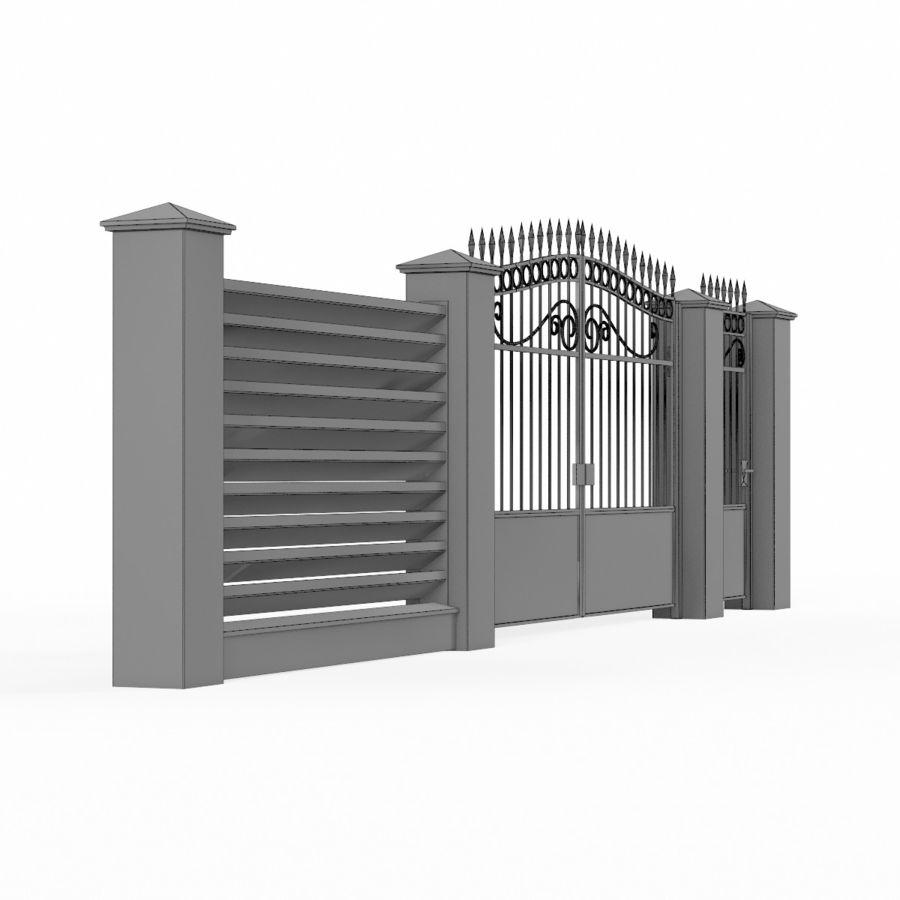Portão de ferro forjado e cerca 04 royalty-free 3d model - Preview no. 11