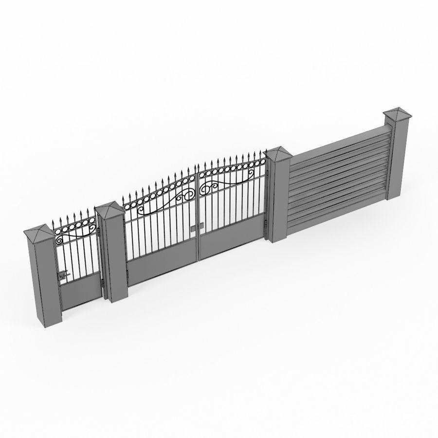 Portão de ferro forjado e cerca 04 royalty-free 3d model - Preview no. 9