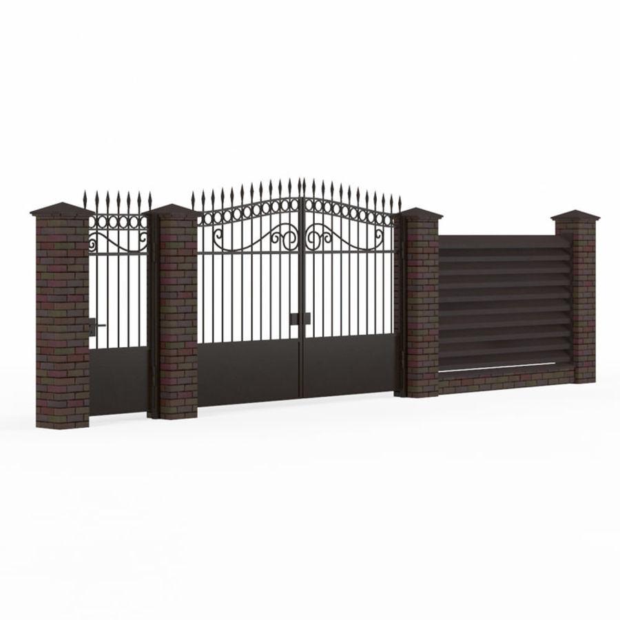 Portão de ferro forjado e cerca 04 royalty-free 3d model - Preview no. 1
