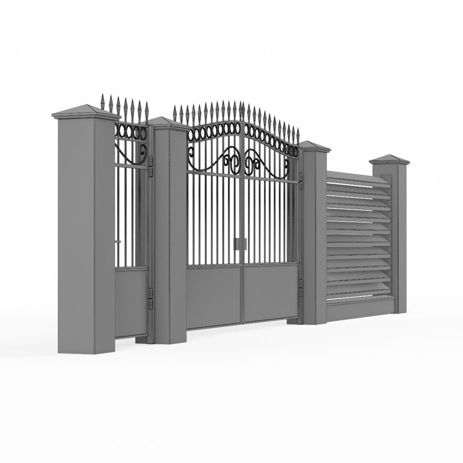 Portão de ferro forjado e cerca 04 royalty-free 3d model - Preview no. 10