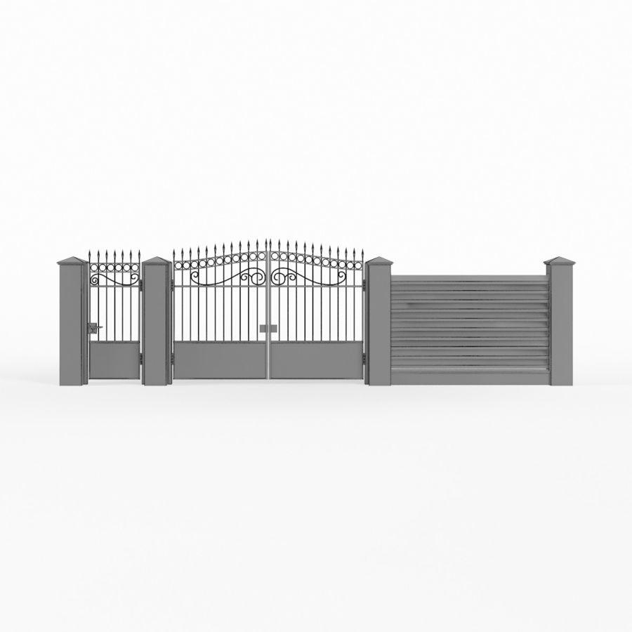 Portão de ferro forjado e cerca 04 royalty-free 3d model - Preview no. 13