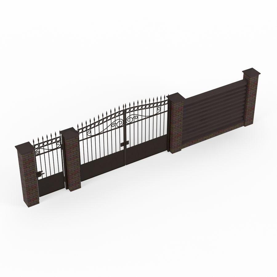 Portão de ferro forjado e cerca 04 royalty-free 3d model - Preview no. 3