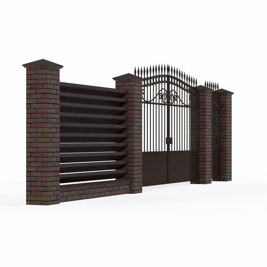 Portão de ferro forjado e cerca 04 royalty-free 3d model - Preview no. 5