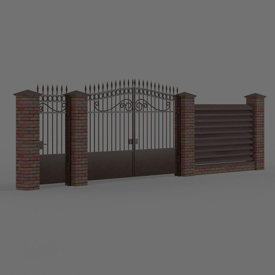 Portão de ferro forjado e cerca 04 royalty-free 3d model - Preview no. 2