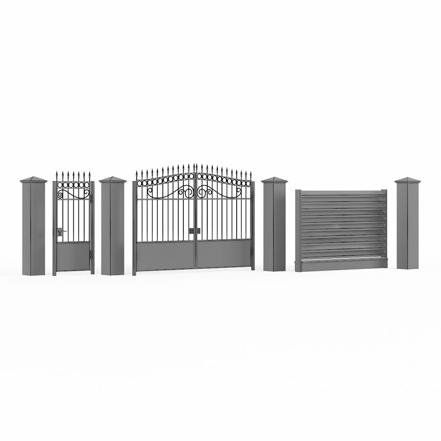 Portão de ferro forjado e cerca 04 royalty-free 3d model - Preview no. 12