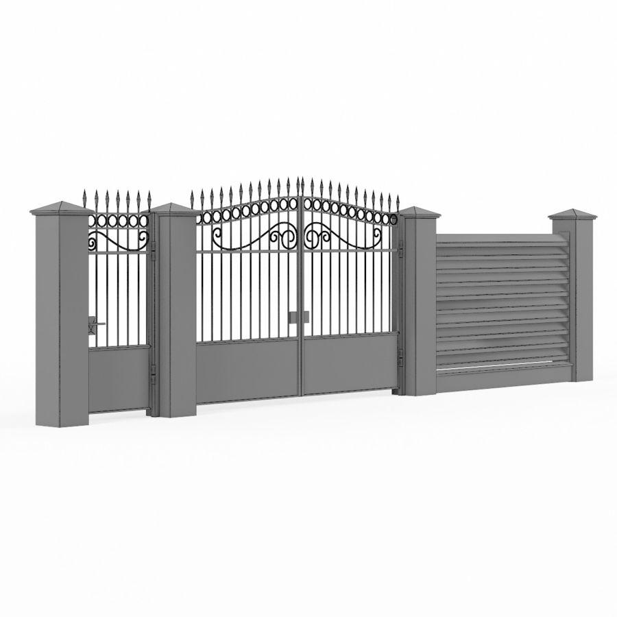 Portão de ferro forjado e cerca 04 royalty-free 3d model - Preview no. 8