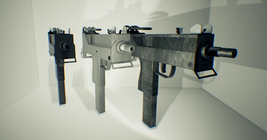 Micro Uzi royalty-free 3d model - Preview no. 2