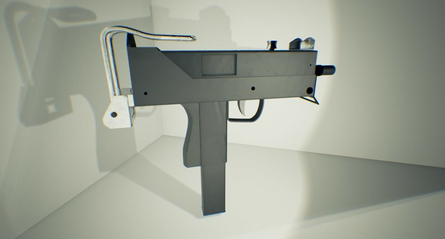 Micro Uzi royalty-free 3d model - Preview no. 3