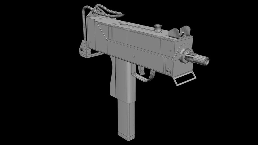 Micro Uzi royalty-free 3d model - Preview no. 7