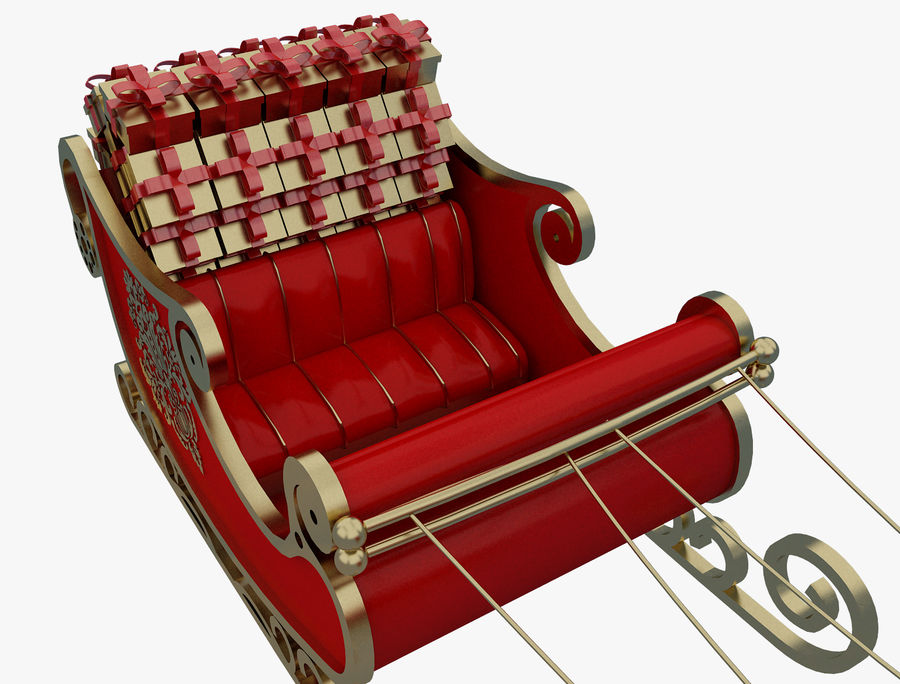 Christmas Sleigh a63 royalty-free 3d model - Preview no. 5