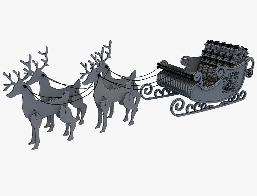 Christmas Sleigh a63 royalty-free 3d model - Preview no. 9