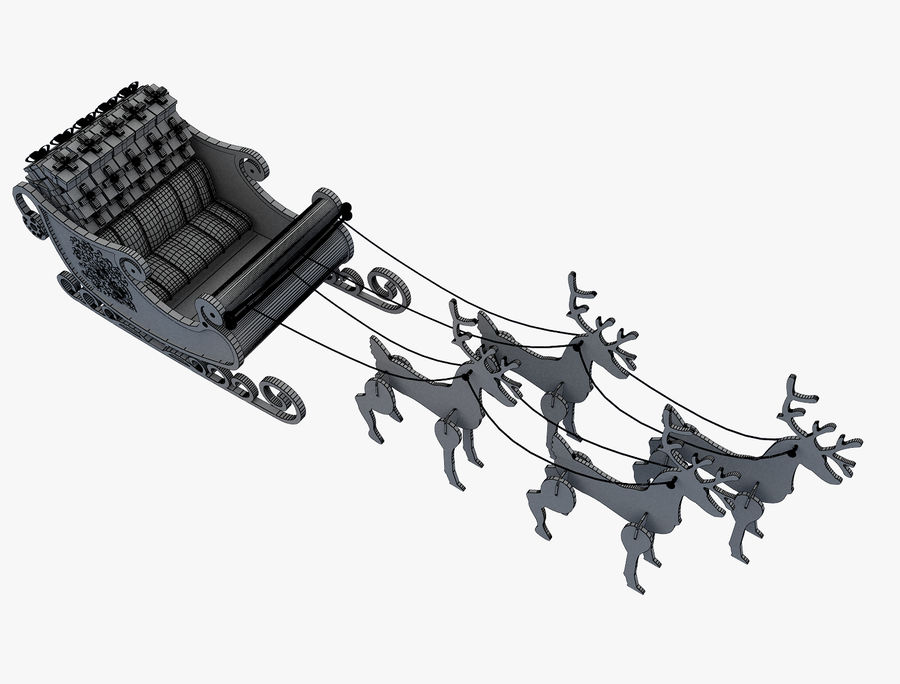 Christmas Sleigh a63 royalty-free 3d model - Preview no. 10
