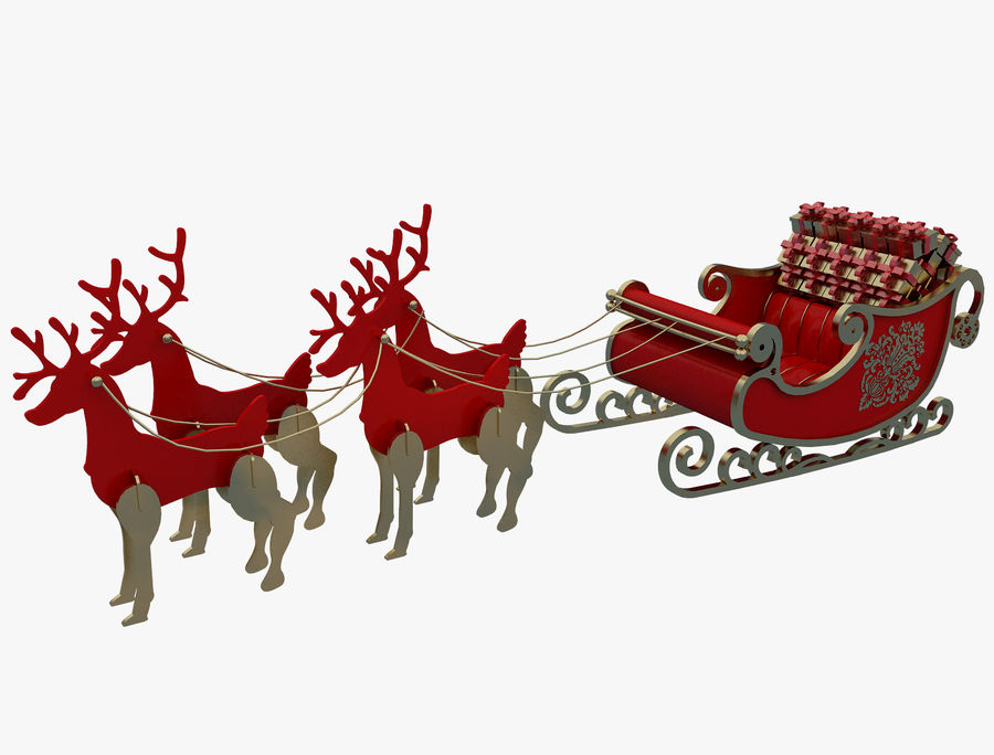Christmas Sleigh a63 royalty-free 3d model - Preview no. 1