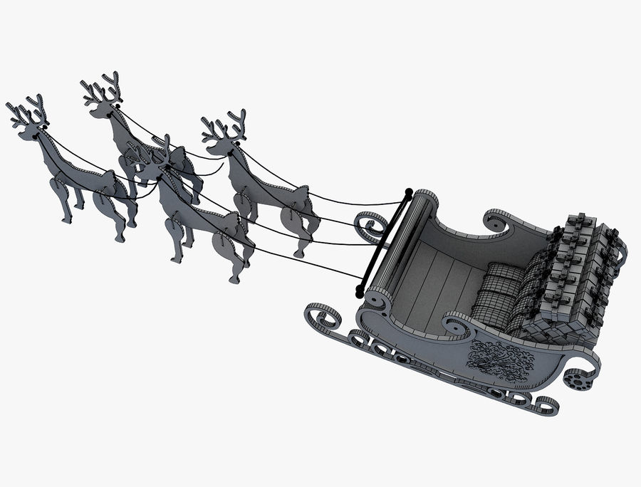 Christmas Sleigh a63 royalty-free 3d model - Preview no. 12