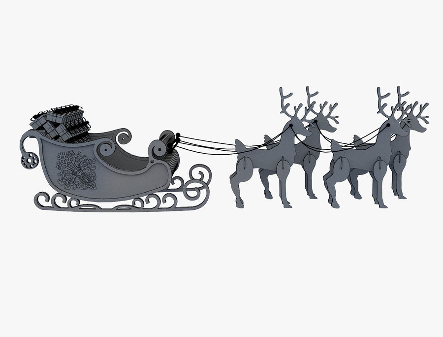 Christmas Sleigh a63 royalty-free 3d model - Preview no. 11