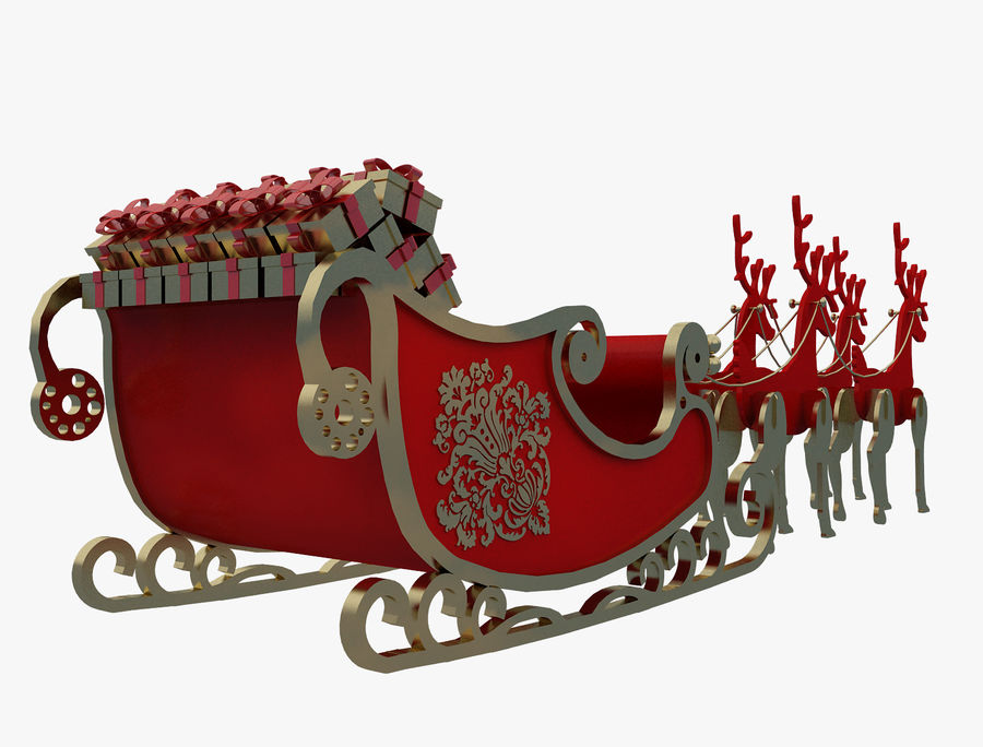Christmas Sleigh a63 royalty-free 3d model - Preview no. 8