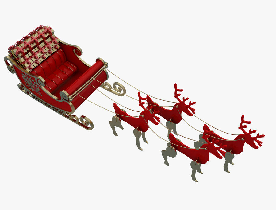 Christmas Sleigh a63 royalty-free 3d model - Preview no. 2