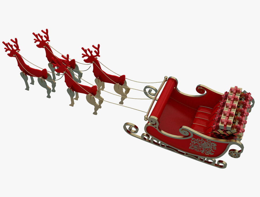 Christmas Sleigh a63 royalty-free 3d model - Preview no. 4