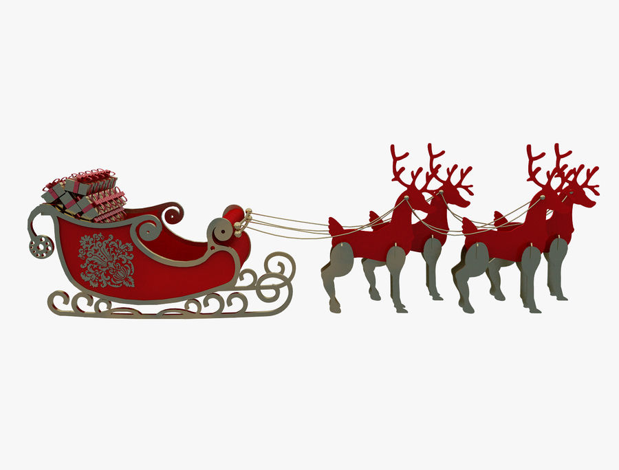 Christmas Sleigh a63 royalty-free 3d model - Preview no. 3