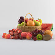 Basket with ten fruits collection 3d model