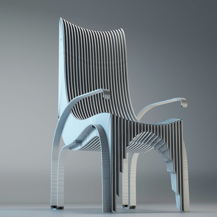 Plywood Layered Chair royalty-free 3d model - Preview no. 12