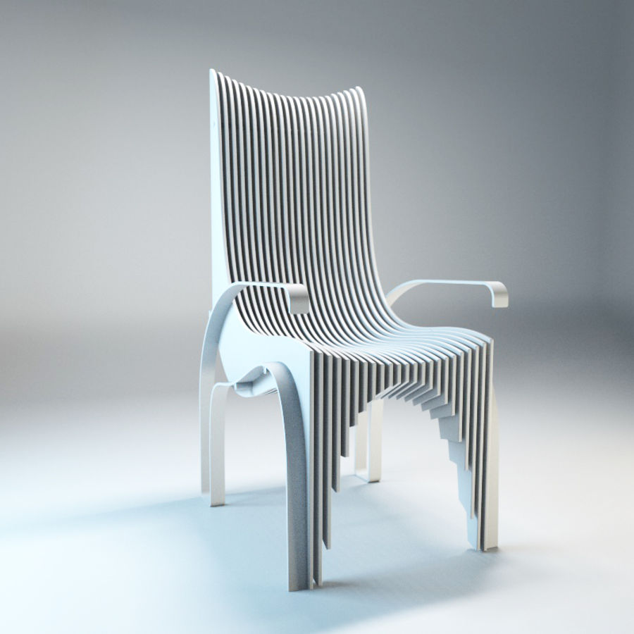 Plywood Layered Chair royalty-free 3d model - Preview no. 9