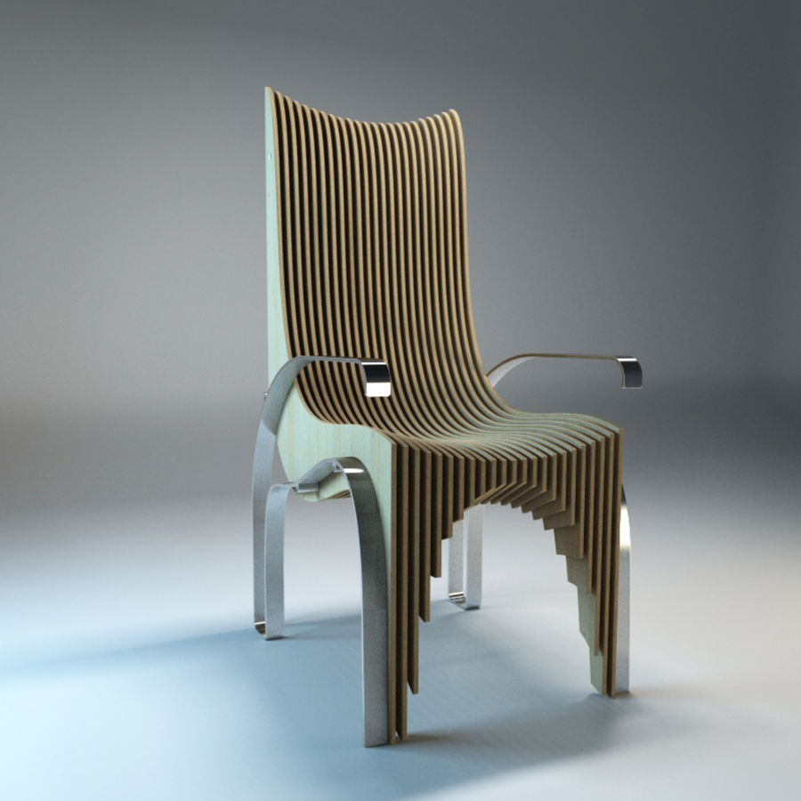 Plywood Layered Chair royalty-free 3d model - Preview no. 2