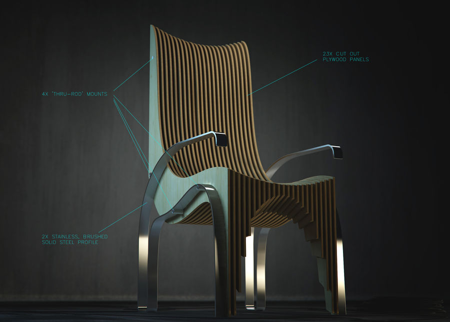 Plywood Layered Chair royalty-free 3d model - Preview no. 8