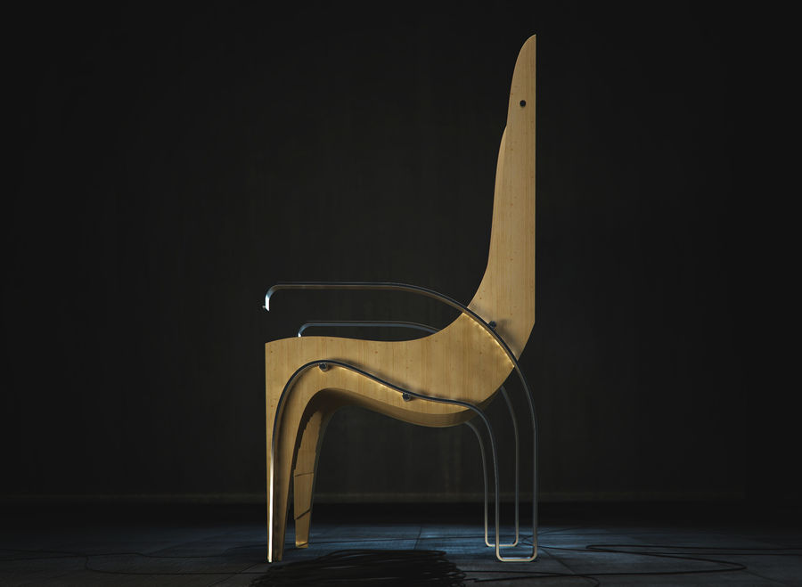 Plywood Layered Chair royalty-free 3d model - Preview no. 5