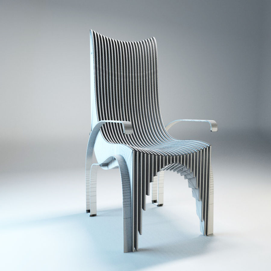 Plywood Layered Chair royalty-free 3d model - Preview no. 10