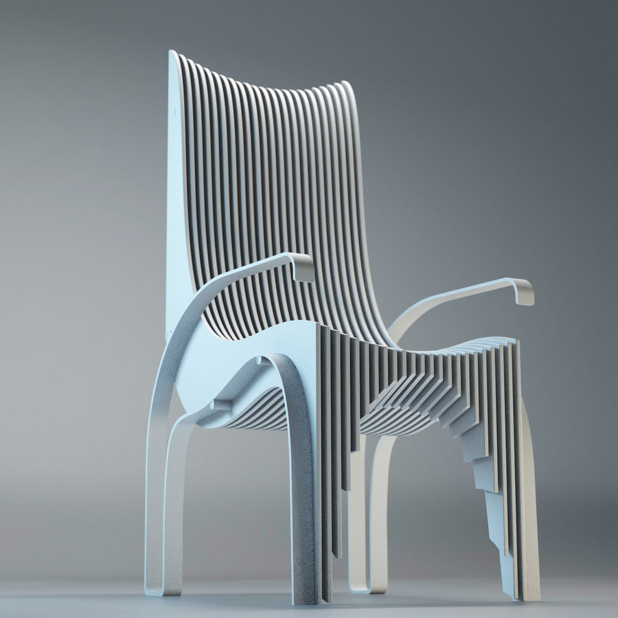 Plywood Layered Chair royalty-free 3d model - Preview no. 13