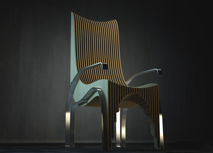 Plywood Layered Chair royalty-free 3d model - Preview no. 1