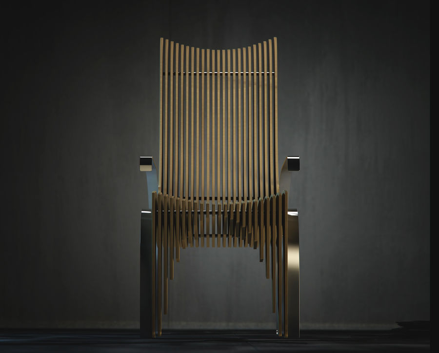 Plywood Layered Chair royalty-free 3d model - Preview no. 3