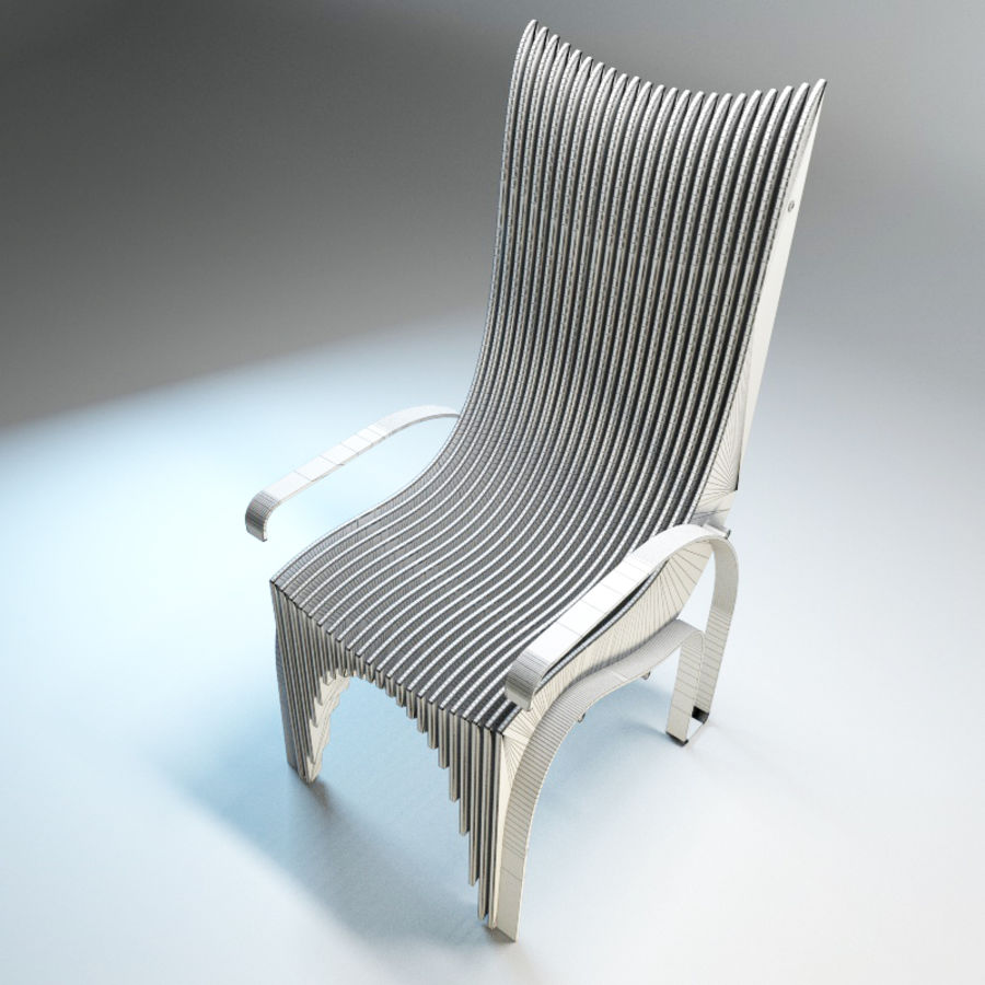 Plywood Layered Chair royalty-free 3d model - Preview no. 11