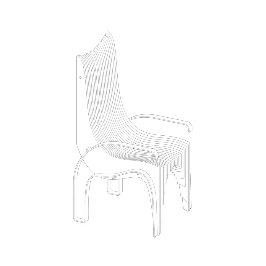 Plywood Layered Chair royalty-free 3d model - Preview no. 19