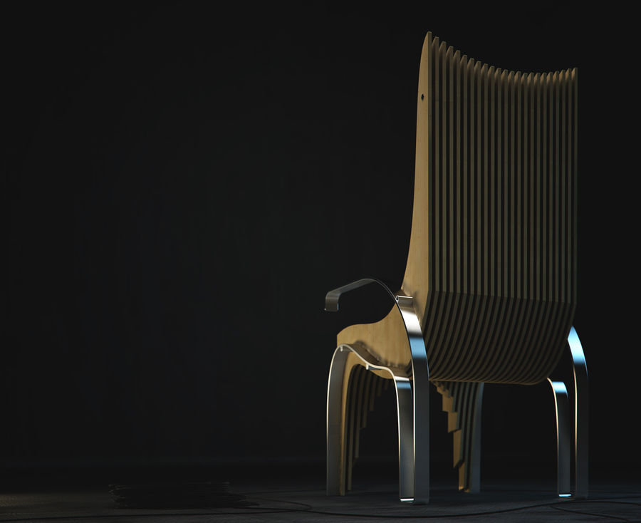 Plywood Layered Chair royalty-free 3d model - Preview no. 4